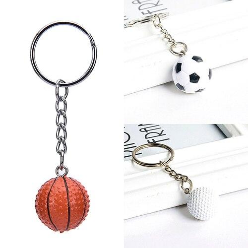 Neue Mode Sport metall Keychain Auto Schlüssel Kette Schlüssel Ring Fußball Basketball Golf ball Anhänger Schlüsselring Für großhandel