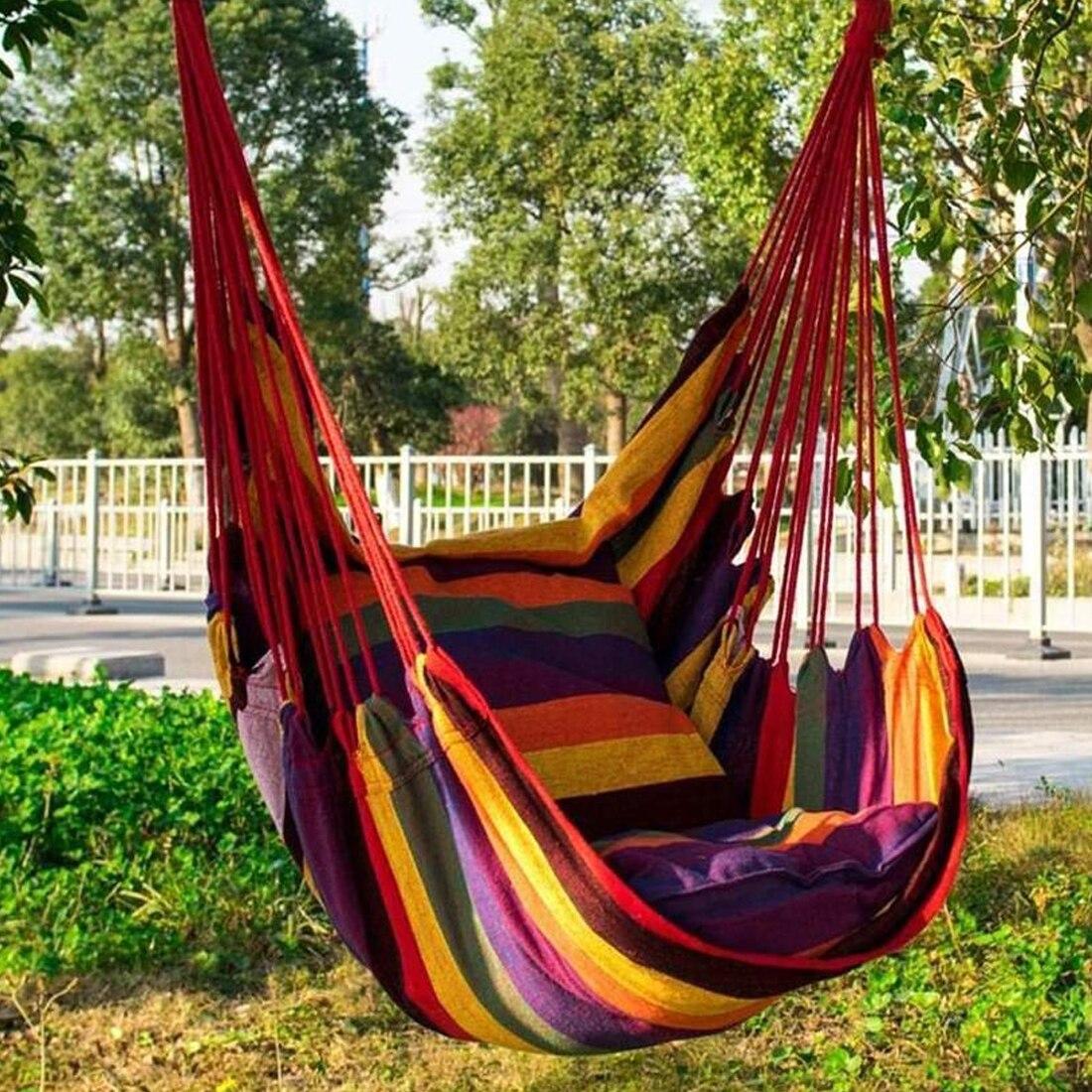 Портативное кресло-гамак, подвесное кресло-качели с 2 подушками для сада, улицы и помещений, модные качели