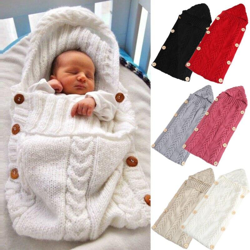 Saco de dormir para recién nacido, niño, niña, tejido a ganchillo, cruzado, saco de dormir frazada, botones sólidos, saco de dormir cálido para invierno