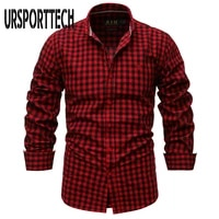 ursporttech plaid shirt men spring autumn new 34 sleeves 100 cotton shirt mens slim fit business casual shirts high quality
