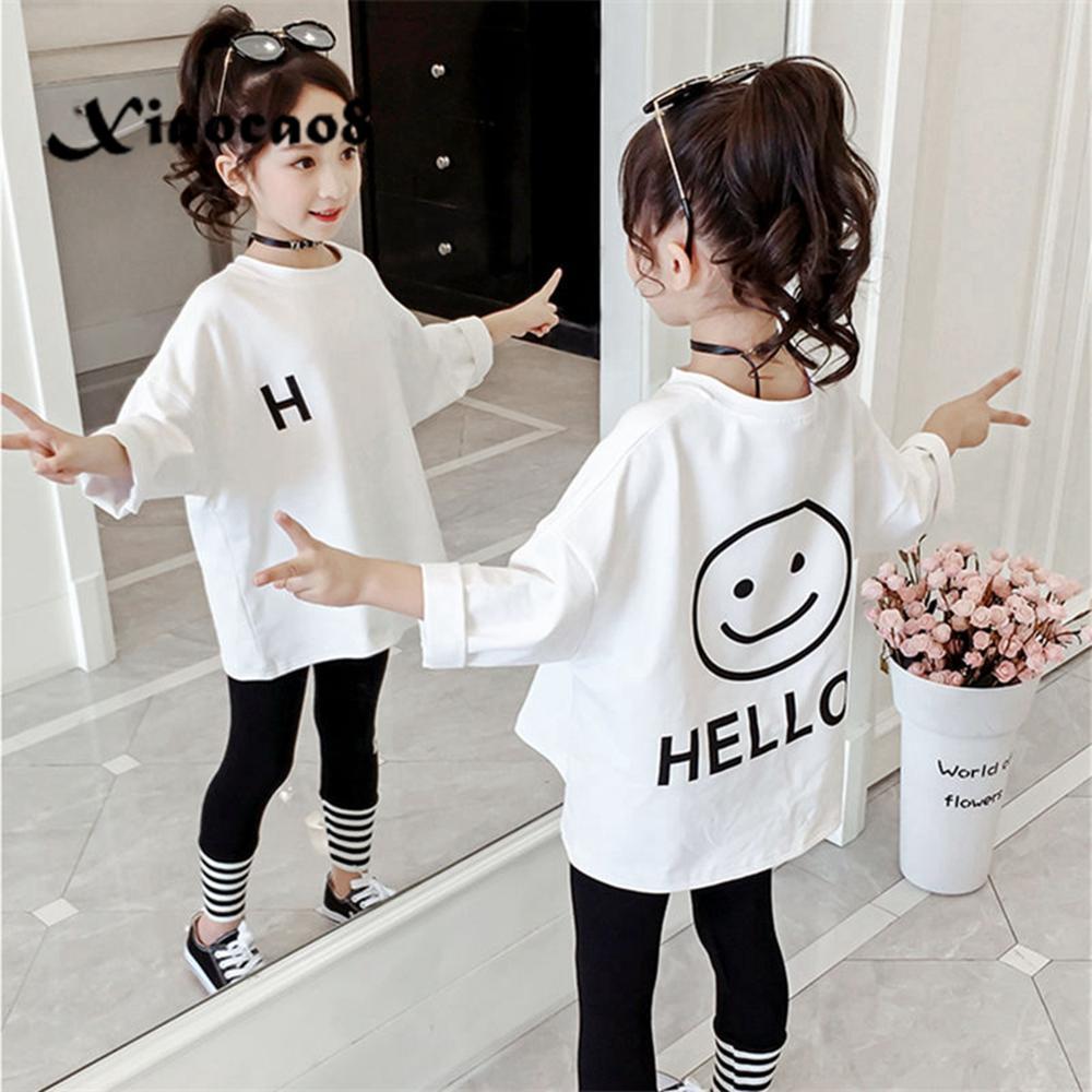 AliExpress - Toddler Kids Full T-shirts Girls Leatter Casual Tops Koszulka Teenage Big Girls White T Shirt Children's Clothes Tee 8 6 10 12