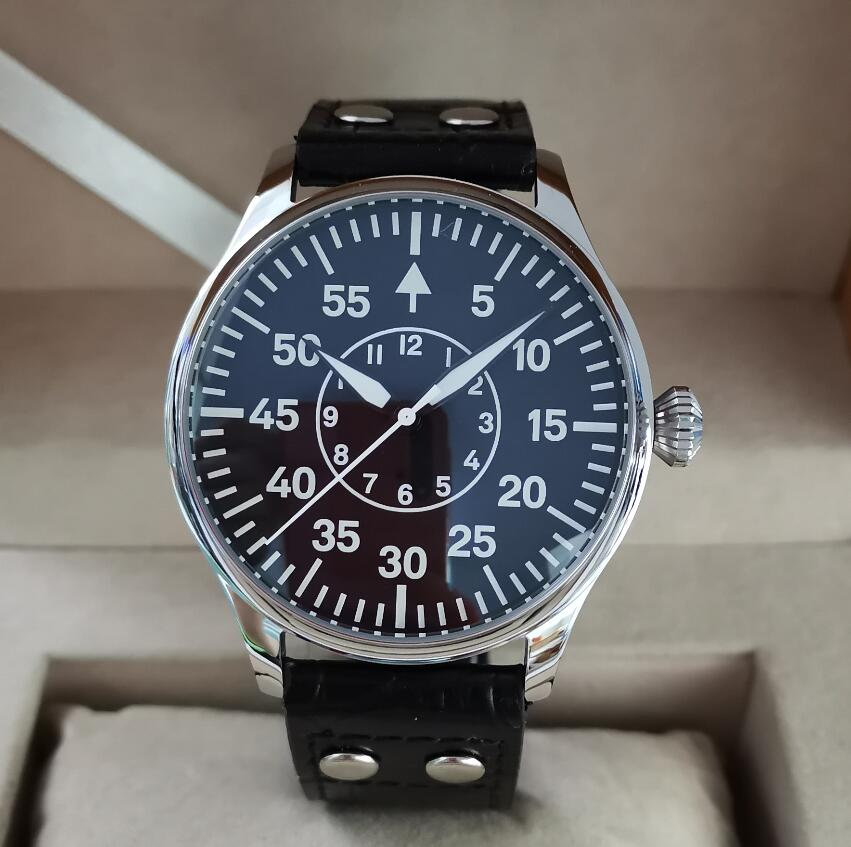 44mm Pilot style 316L stainless steel case Automatic men's Watch Japan NH35A Movement Sapphire Cryst