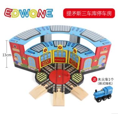 Tres garajes de estacionamiento con plataforma giratoria y tren para escena magnética camión locomotora Motor de ferrocarril juguetes para niños