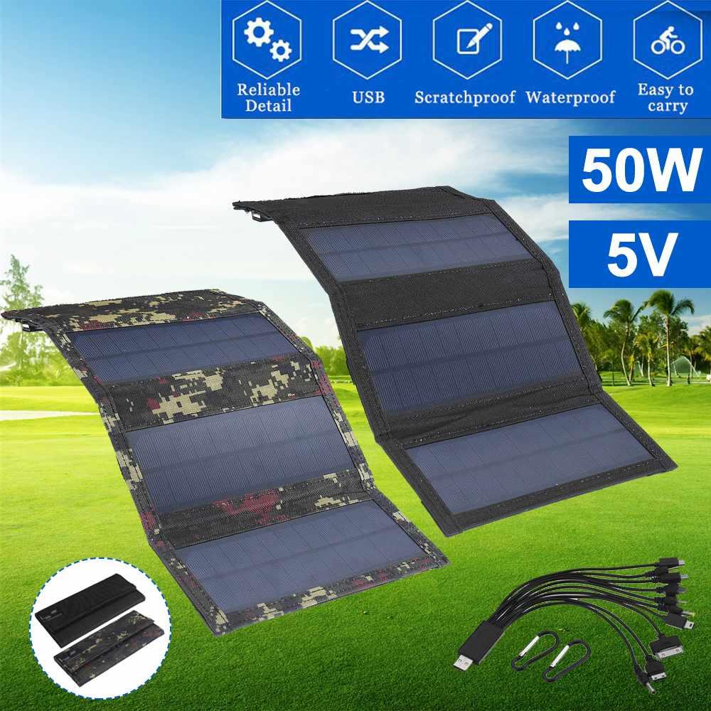 Bateria para o Telefone 5v de Energia Painel Solar Dobrável Células Solares Carregador 10in1 Cabo Usb Portátil Painéis Acampamento Kit 50w