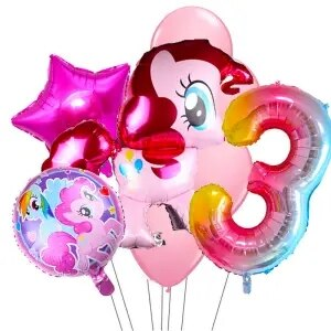 my little pony foil balloons with 32inch rainbow number baloon girl's birthday party decoration one year old