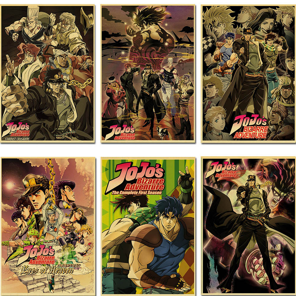 Póster clásico de JoJos Bizarre Adventure, póster de acción de Anime retro, póster de pintura, arte de pared para sala de estar/Bar, cartel decorativo