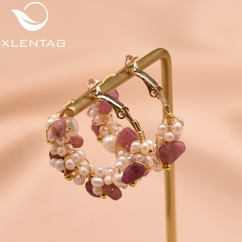 XlentAg agua dulce blanco perla pendientes para mujeres chica de regalo de lujo hecho a mano joyería Oorbellen GE0870A