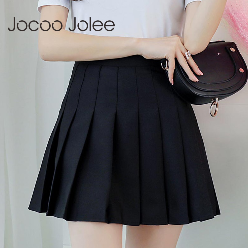 Jocoo Jolee Women High waist Pleated Skirt 2019 Spring Autumn Casual Kawaii A-line Skirts Japanese School Uniform Mini Skirts