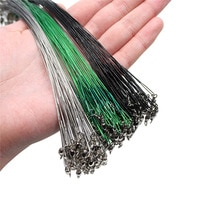 20PCS Anti Bite Steel Fishing Line Steel Wire Leader With Swivel Fishing Accessory Lead Core Leash Fishing Wire 15CM-50CM