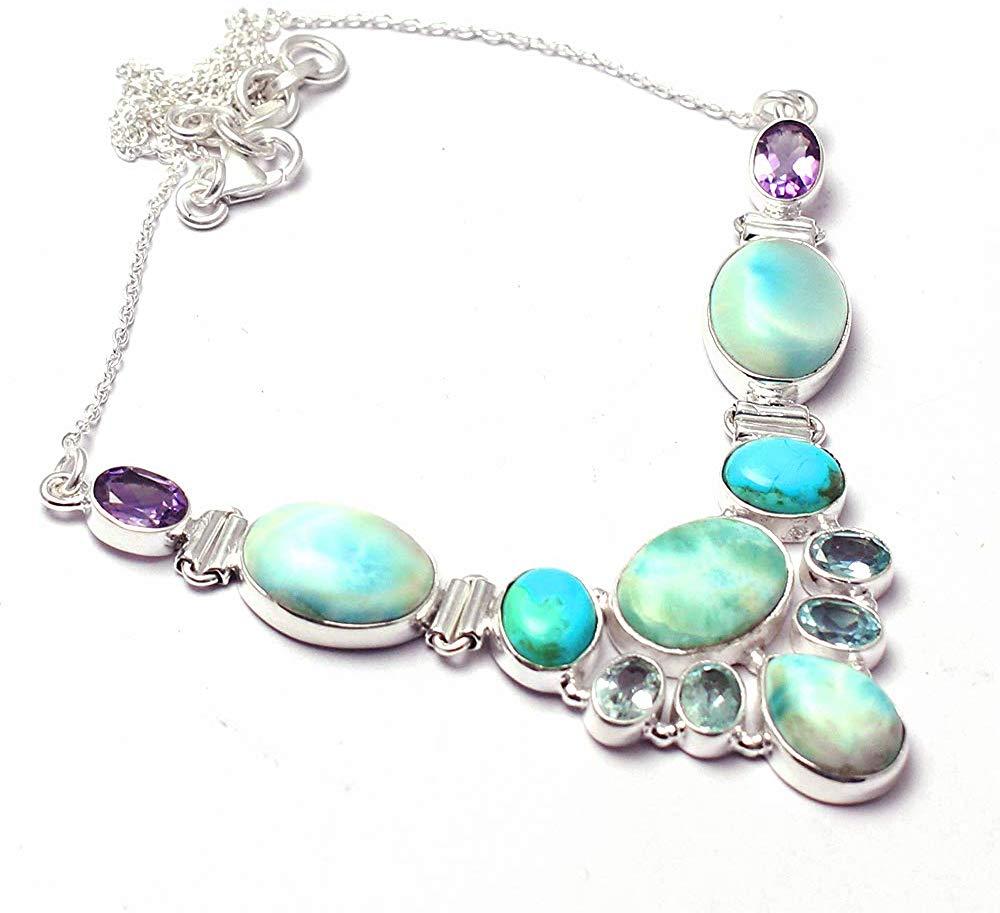 Genuine Larimar + Amethyst + Blue Topaz Necklace 925 Sterling Silver, 44.5 cm, 2SN0073