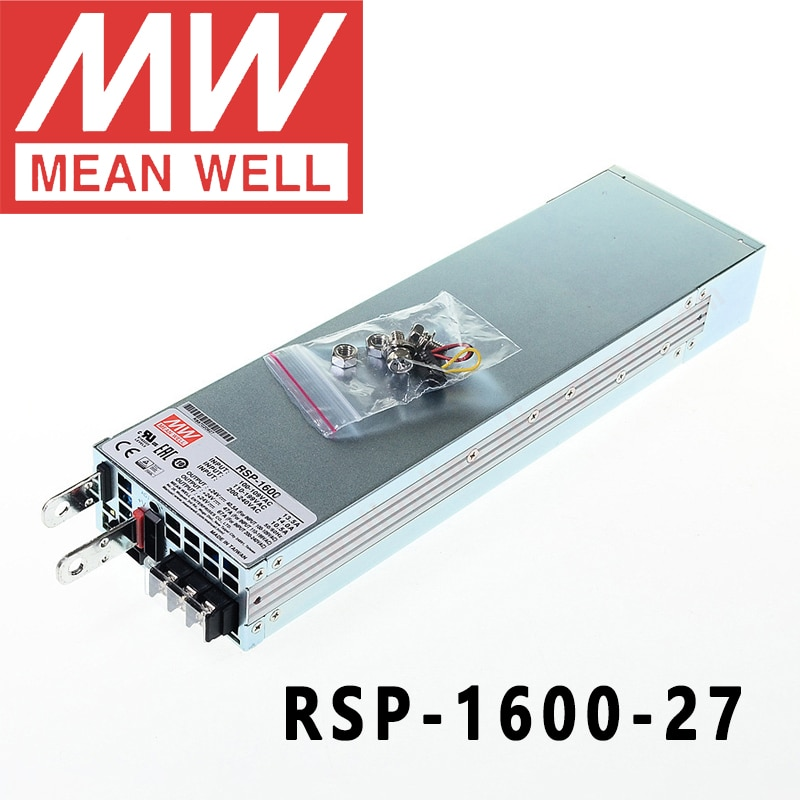 الأصلي يعني جيدا RSP-1600-27 مانويل 27VDC/0-59A/1593 واط إخراج واحد مع وظيفة معامل تصحيح الطاقة امدادات الطاقة