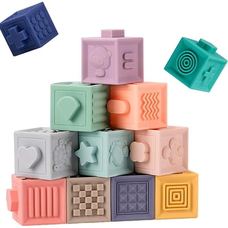 Игрушки Монтессори для детей, Мягкие кубики для прорезывания зубов, игрушки для детей от 1 года до 2 лет, подарок