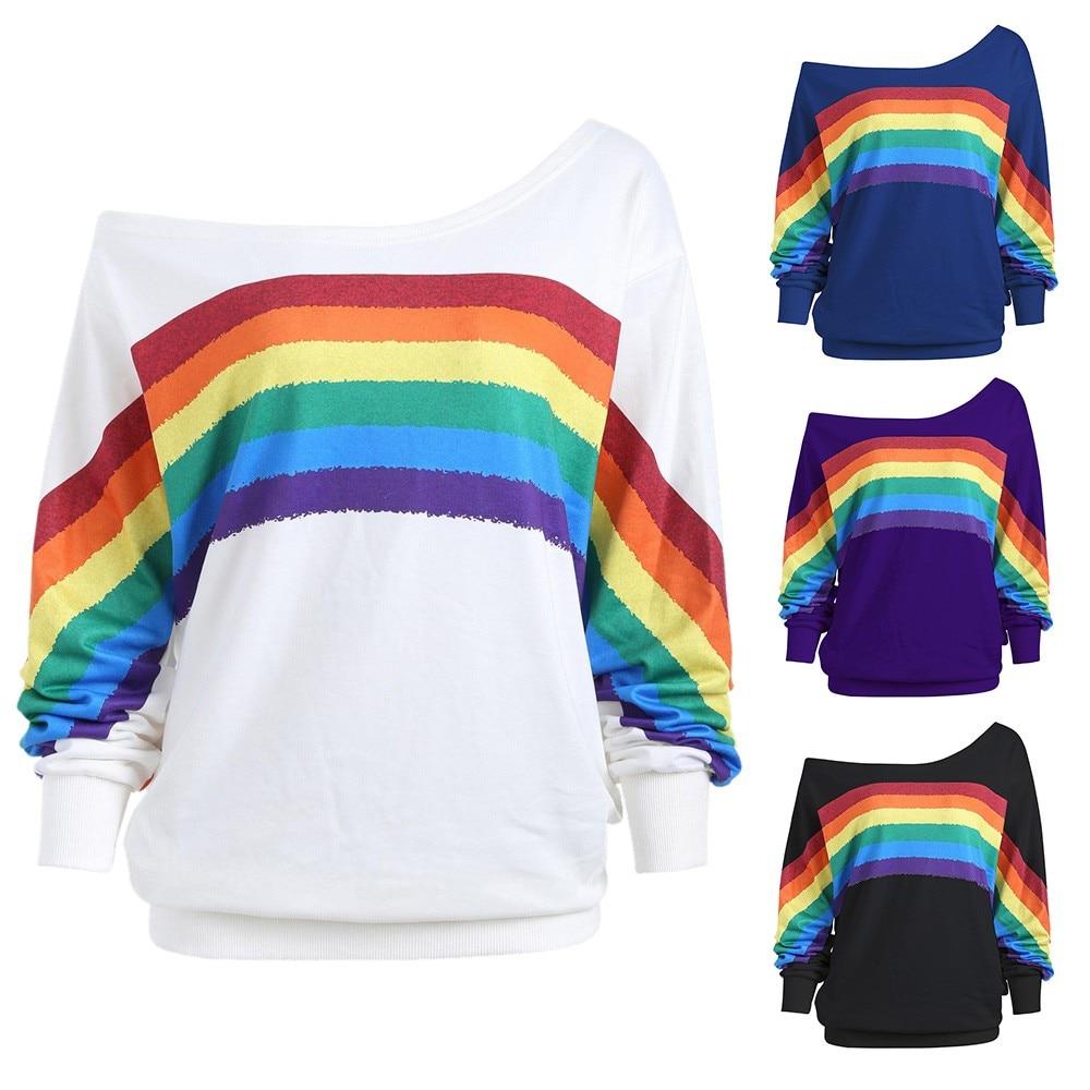 Mujer Casual suelta manga larga estampado de arco iris Strapless oversize S-5XL pulóver sudadera estético 7,22