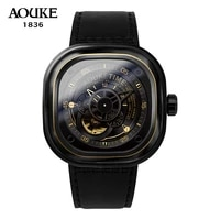 aouke new design machanical watches for men self wind automatic hour dial stopwatc genuine leather sapphire waterproof watch man
