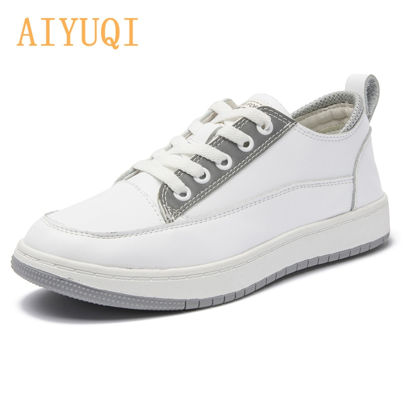 AIYUQI Genuine Leather Sneakers Women 2021 Spring New Women Loafers All-match Soft Sole Lace White Shoes Women