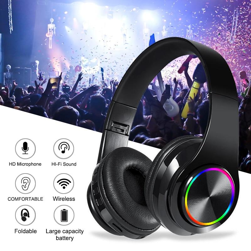 Auriculares B39 LED plegables, inalámbricos por Bluetooth V5.0, novedad en auriculares plegables con micrófono y función de soporte para tarjeta TF