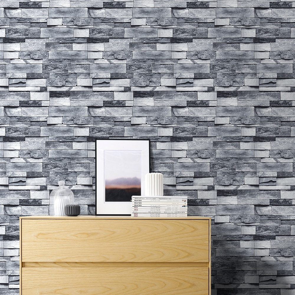 Фото - Light Gray Brick Self Adhesive Stone Peel And Stick Wallpaper Brick Faux Textured Wallpapers Stone Bathroom Ground Wallpapers gray stone