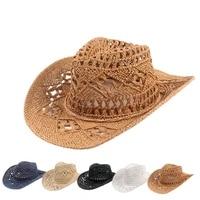 yose hand knitting western cowboy cowgirl hat straw summer hat womens sun hat hollow out beige women men unisex sunhat
