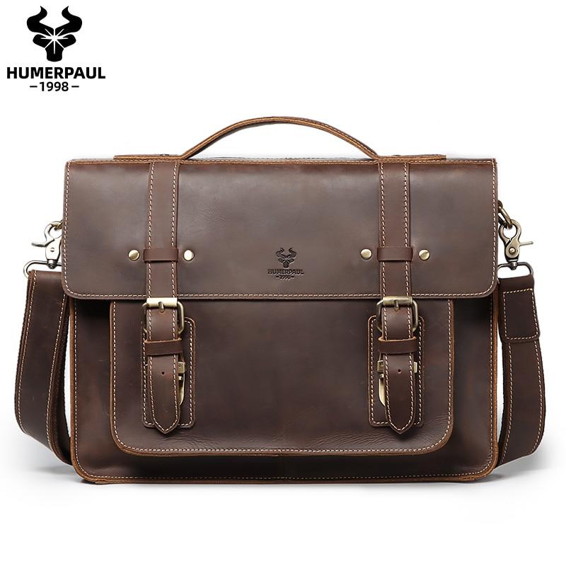 Men Briefcase Business Handbag Messenger Bags Crazy Horse Leather Male Vintage Shoulder Bag Men's Large Laptop Travel Bags 2021