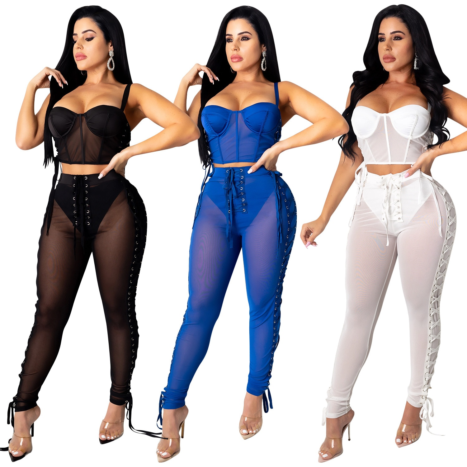 Фото - Adogirl Women See Through Two Piece Club Outfits Sexy Crop Top And Pants 2 Piece Set Fashion Suit 2020 Matching Sets Female Trac trac