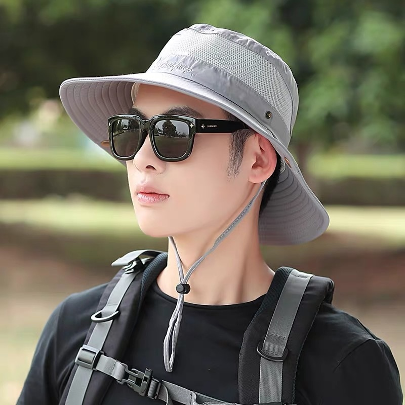 New Summer Mix Cotton Man Sport Fisherman Hat Outing Mountaineering Large Brim Sunshade Mesh Breathable Tighten Folding Hats