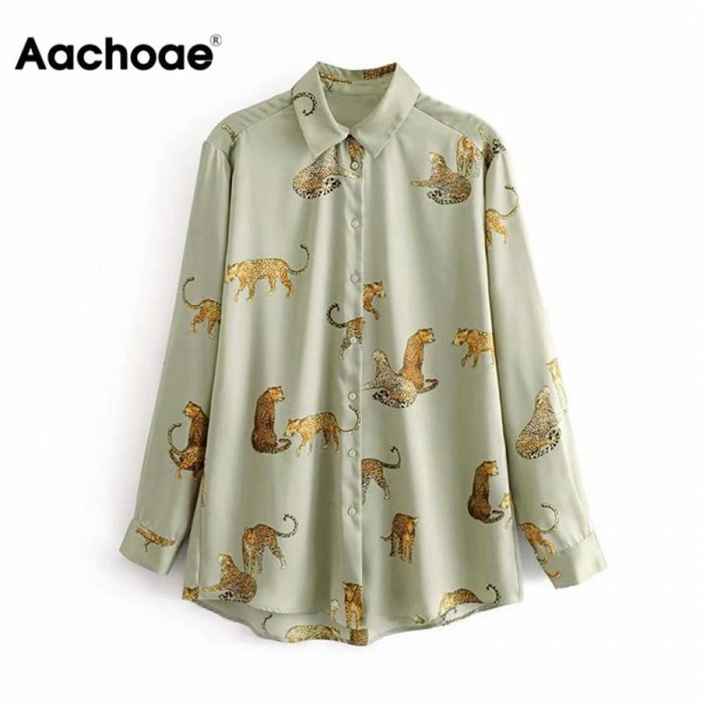aliexpress - Aachoae Leopard Stylish Shirt Women Turn Down Collar Office Fashion Female Blouse Long Sleeve Plus Size Lady Tops Blusa Feminina