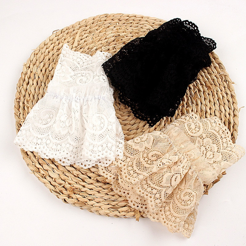 2Pcs/Pair Women Girls Fake Flare Sleeves Floral Lace Pleated Ruched False Cuffs Sweater Wrist Cutout Arm Cover car Cover Gloves