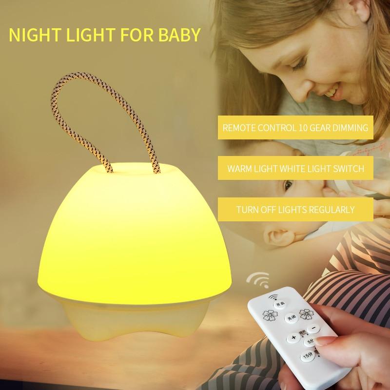 الإبداعية الجدول مصباح غرفة نوم السرير قابلة للشحن التحكم عن بعد مضيئة ليلة ضوء التمريض الطفل حماية العين النوم