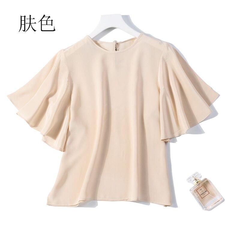 100% camisa de seda pura feminina blusa em torno do pescoço plissado mangas cor sólida tamanho l xl jn124