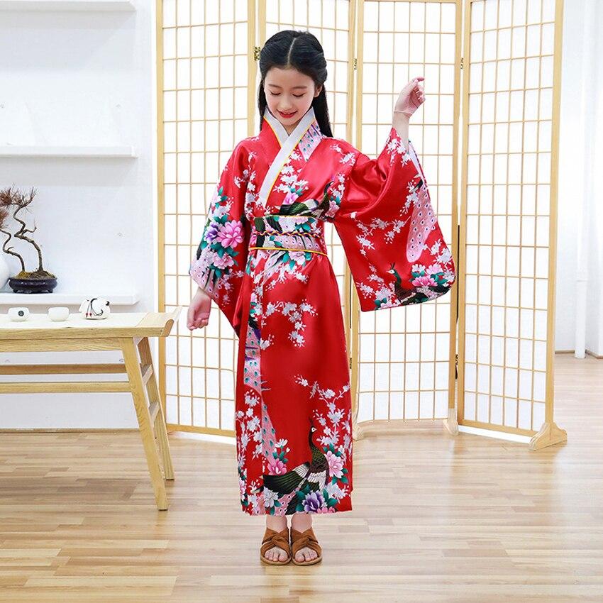 Niños Niñas japonés tradicional Kimono vestido Oriental Retro Vintage vestido de boda Yukata satén seda Japón trajes de baile
