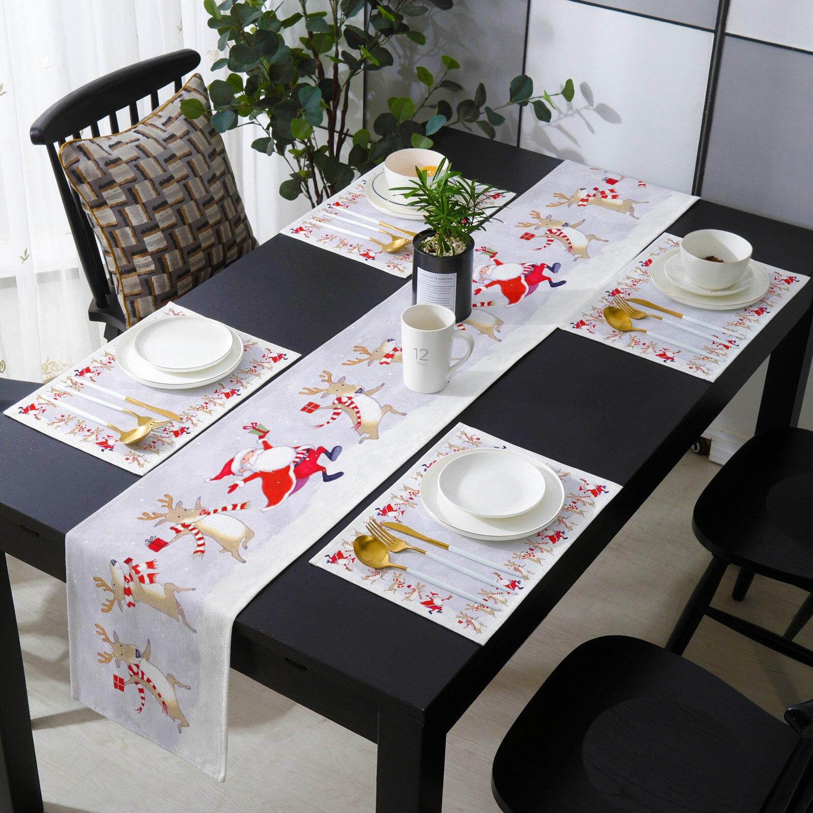 Christmas Elk Illustration Table Runner Luxury Set Wedding Table Decor Table Runner Christmas Decoration for Home