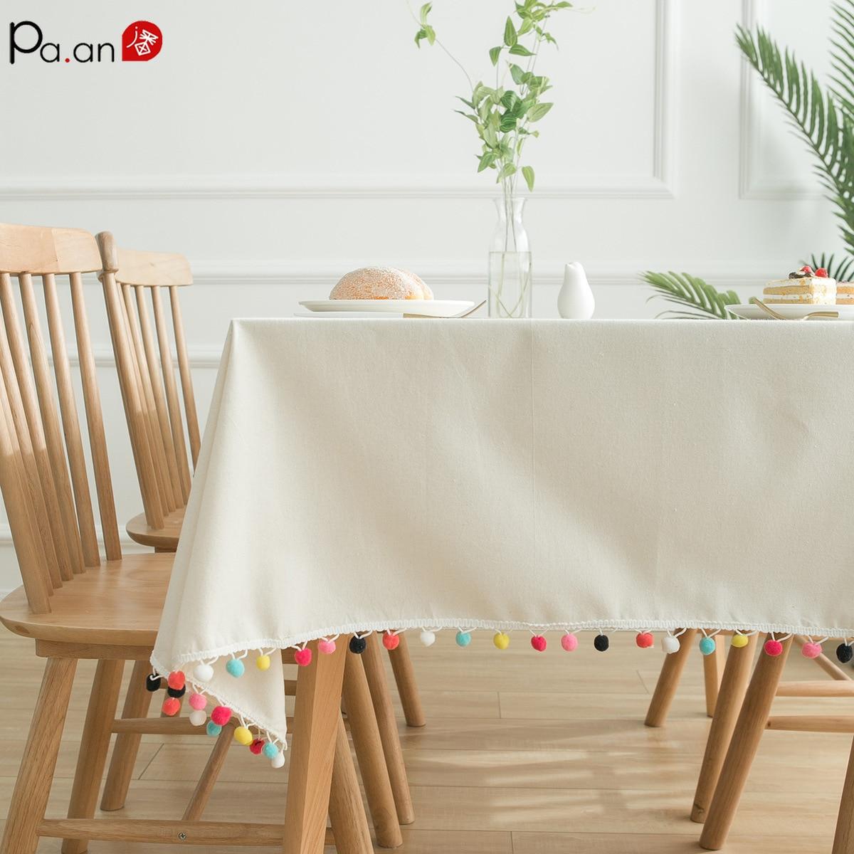 Mantel de lino Para Mesa Rectangular, mantel de encaje, color blanco