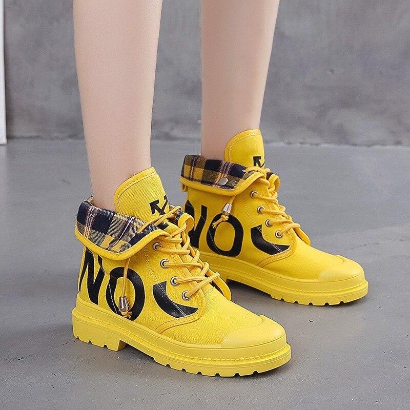 BJYL 2019 zapatos vulcanizados plataforma mujer malla alta ayuda cordones zapatos casuales de caminata zapatillas suaves zapatos mujer B488