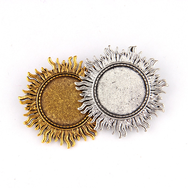2 pieces Fit 25*25mm Antique Gold And Silver Alloy Sun Brooch Blank Glass Inlaid Diy Brooch Bottom Jewelry Display Setting