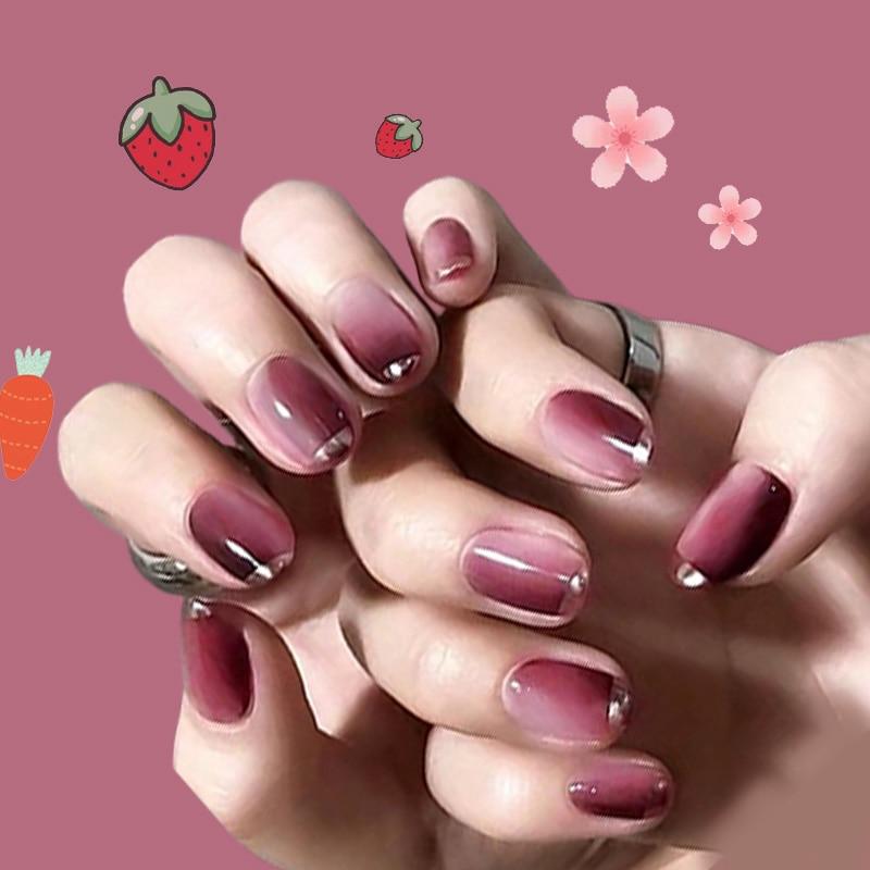 24 unids/caja cabeza redonda borde plateado uñas postizas usable Color degradado estilo corto chica moda Popular calcomanías para manicura TY