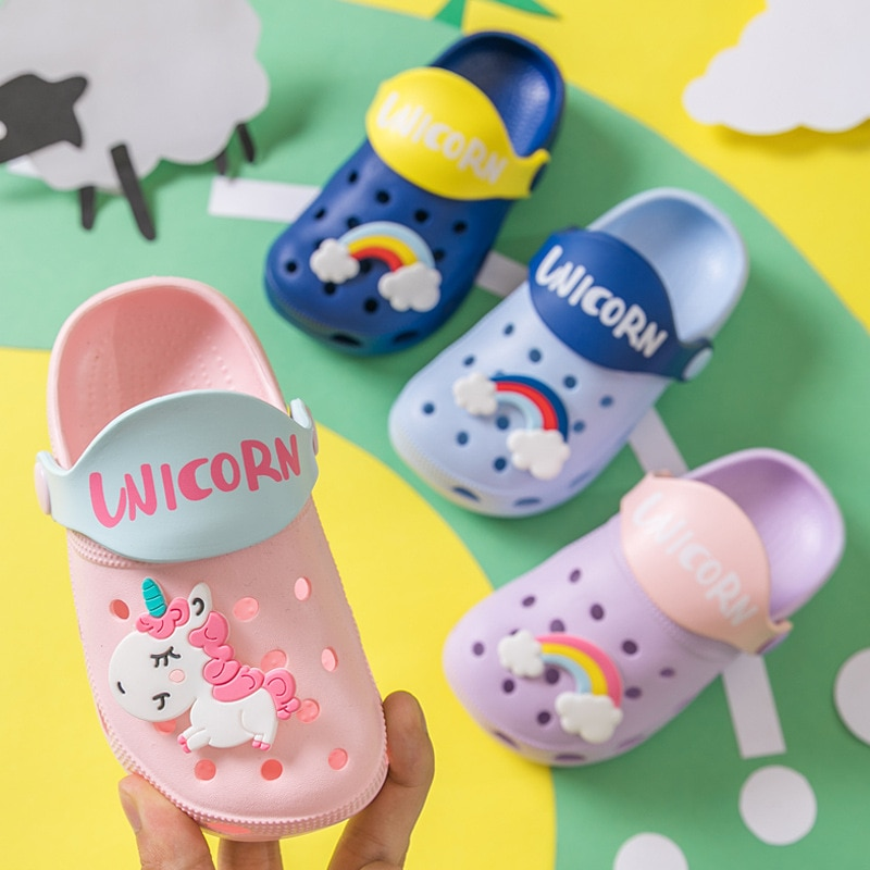 Cute Cartoon Boys Shoes Girls Baby Slippers Summer Kids shoes Sandals Toddlers Children's Hole Shoes KSS14