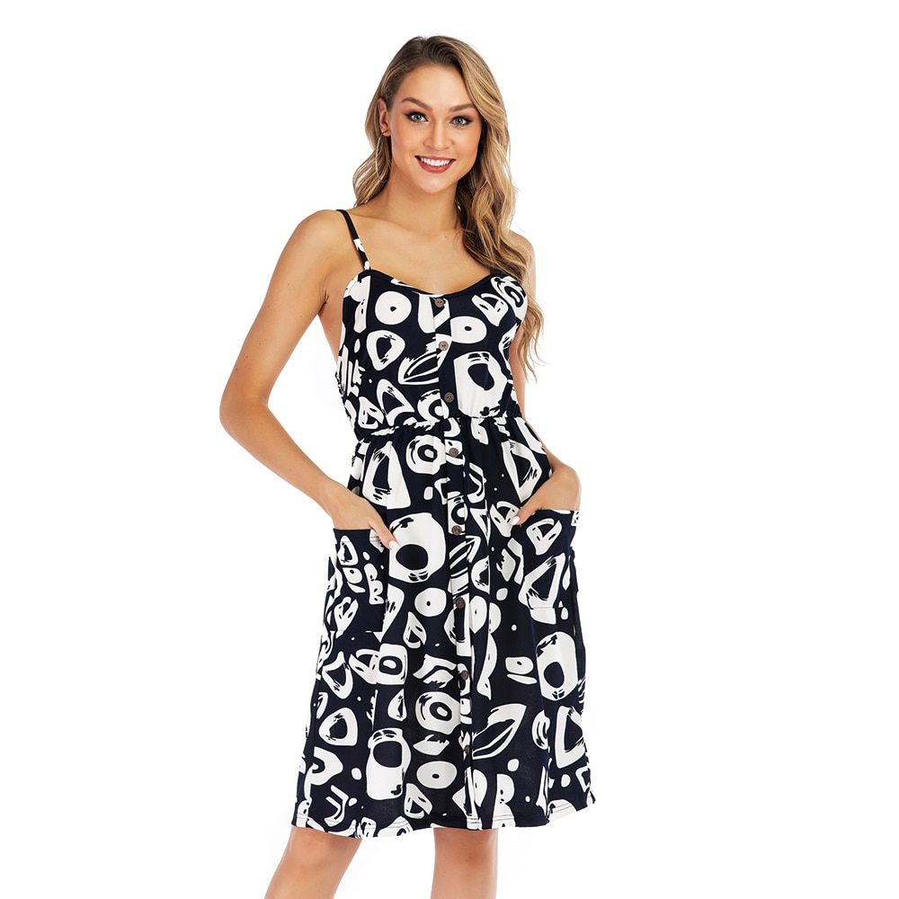 Summer Sexy Chiffon Print Elastic Show Back The Skirt Shoulder-straps A Variety Of Color Matching Simple Comfortable Soft Dresse
