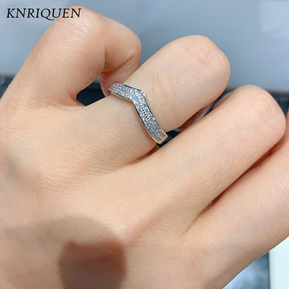 925 Sterling Silver Two Row Rhinestone Irregular Rings Women Luxury Fine Jewelry Fashion Finger Ring for Female Wedding Bands