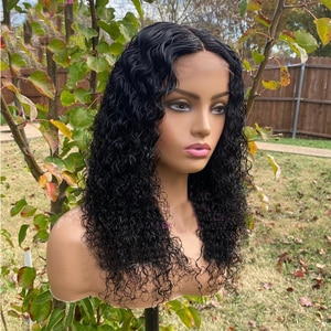 Natural Black Transparent Lace Front Synthetic Wigs Loose Wave With Baby Hair Kinky Curly For Women 180%Density Daily Wigs