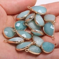 2pcs drop shaped natural stone charm pendant faceted tianhe for jewelry making diy nacklace earring 13x23mm