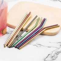 reusable straw stainless steel straight bent straw metal straws with cleaner brush bar straw supplies kitchen bar accessories