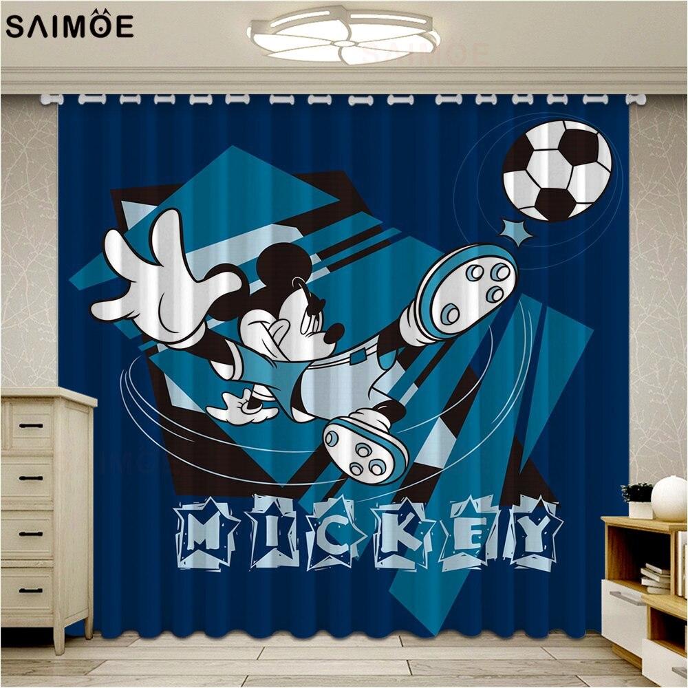 Cortinas de corrida para mickey, cortinas de tecido para melhoria da janela de desenhos animados, crianças, sala de estar, quarto, casa