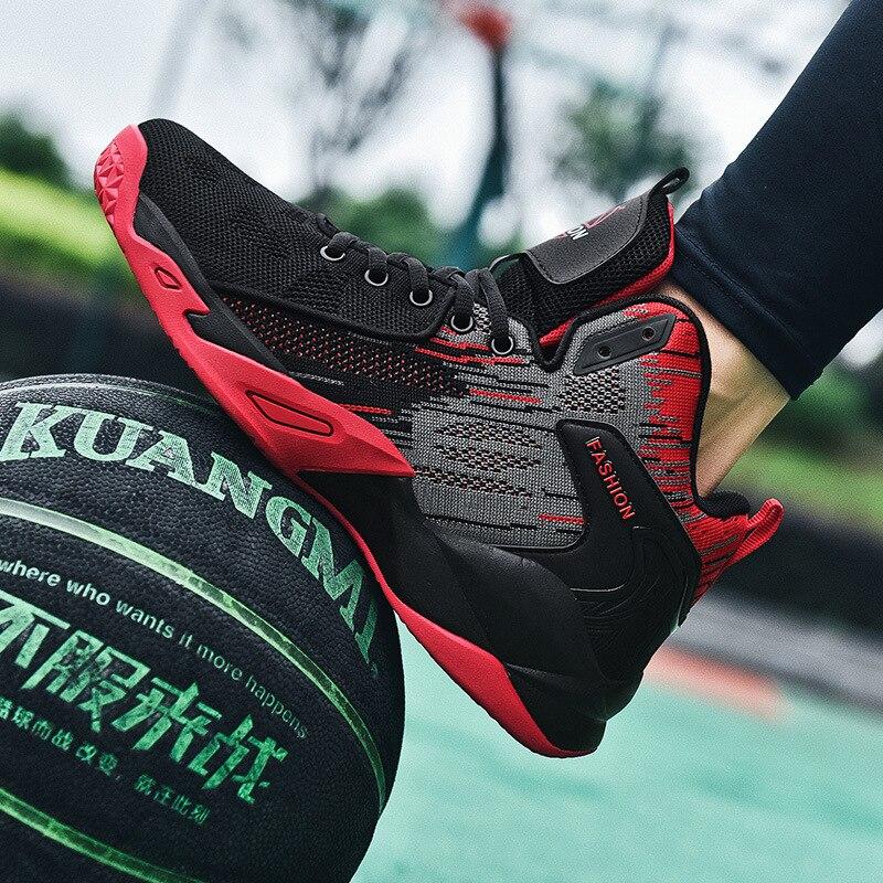 Дышащие баскетбольные кроссовки, мужская Противоударная спортивная обувь с высоким верхом, Нескользящие баскетбольные кроссовки, мужские ... баскетбольные кроссовки nike 14q4 jordan spizike 315371 407