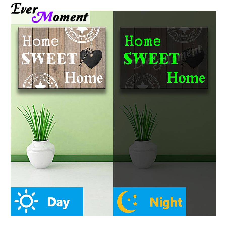 Ever Moment Diamond Painting Luminous Drill Word Home Sweet Home Wall Art Decoration Stones Shining at Night Beads Craft N001