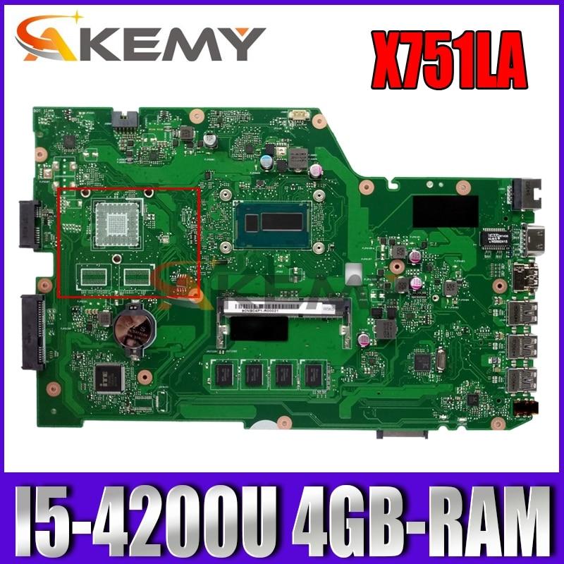 Placa-mãe do Portátil para Asus Akemy Original 4gb-ram I5-4200u Lvds – Edp X751ld X751la X751lab
