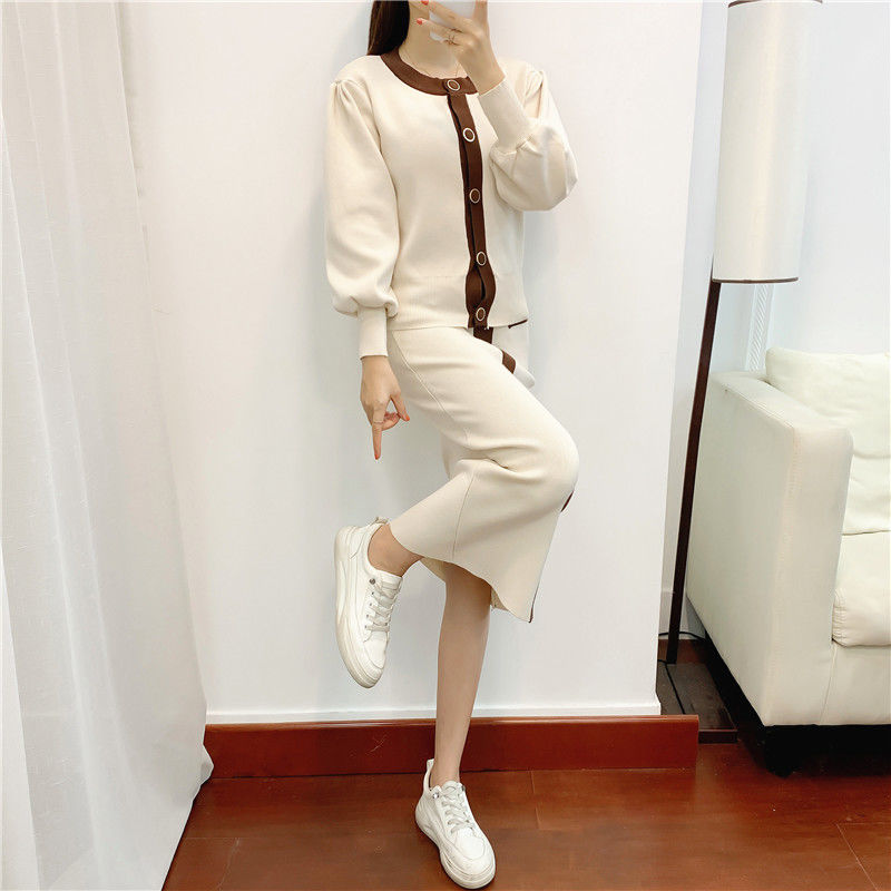 Spring Autumn Version of Round Neck Slim Color Matching Sweater Top Covered Hip Over The Knee Skirt Knitted Two-piece Suit Women  - buy with discount