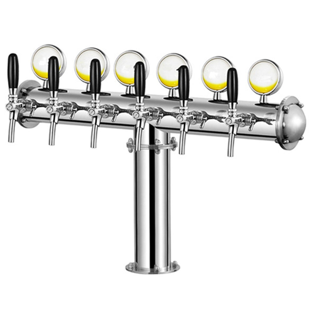 T شكل الفولاذ المقاوم للصدأ الألوان الأساسية ماكينة البيرة مع مصباح ليد و 6 الصنابير