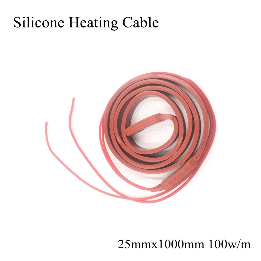 Cable de calefacción de silicona de 25mm, 12V, 24V, 36V, 110V, 220V, correa de calefacción eléctrica Flexible impermeable, tubería de agua, alcantarilla, nieve, congelación