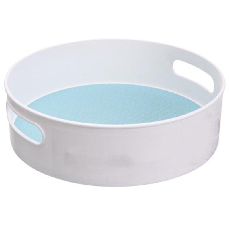 Bandeja de almacenamiento giratoria multifunción antideslizante, soporte de almacenamiento de cosméticos ABS, bandeja de almacenamiento de cocina, Plato de frutas de escritorio azul + blanco