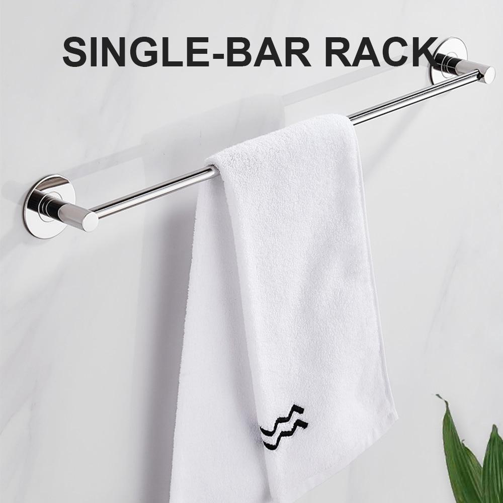 الحمام منشفة رف جدار فولاذي مقاوم للصدأ شنت مزدوجة منشفة حامل السكك الحديدية تخزين الرف منظم مطبخ اكسسوارات الحمام